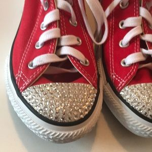 Converse Shoes - Converse All Star Kids 1.5 Red Swarovski Crystal